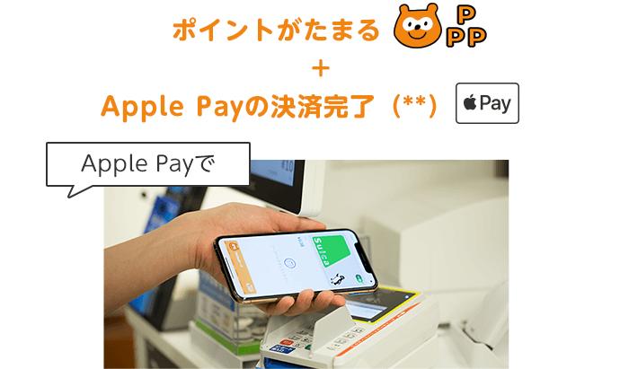 ポイントがたまる+Apple Payの決済完了(**)