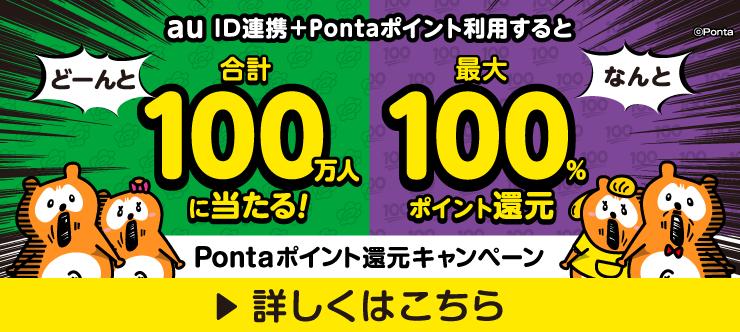合計100万名に当たる!最大100%ポイント還元 Pontaポイント還元キャンペーン