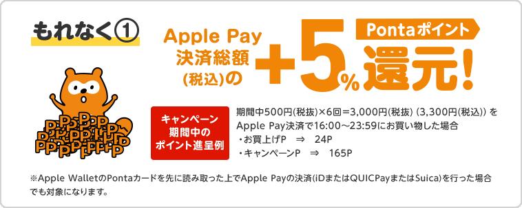 もれなく① Apple Pay決済総額(税込)の+5%還元!