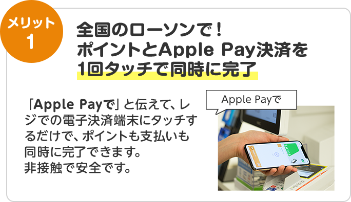 全国のローソンで!ポイントとApple Pay決済を1回タッチで同時に完了