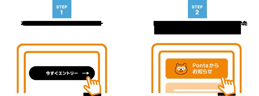 本キャンペーンページからエントリー→「Pontaカード(公式)」アプリから届いたプッシュ通知を開封するだけ!