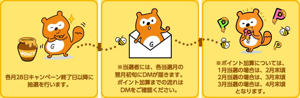 各月28日キャンペーン終了日以降に抽選を行います。 / ※当選者には、各当選月の翌月初旬にDMが届きます。ポイント加算までの流れはDMをご確認ください。 / ※ポイント加算については、1月当選の場合は、2月末頃 2月当選の場合は、3月末頃 3月当選の場合は、4月末頃となります。