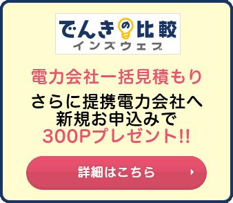さらに提携電力会社へ新規お申込みで300Pプレゼント!!詳細はこちら