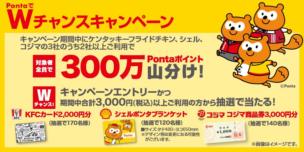 PontaでWチャンスキャンページ キャンペーン期間中にケンタッキーフライドチキン、シェル、コジマのうち2社以上のご利用で300万Pontaポイントを山分け! さらに、対象提携社で合計3,000円(税込)以上購入してエントリーすると抽選で430名に素敵な景品をプレゼント!
