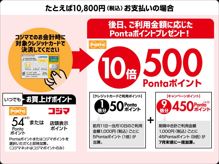 たとえば10,800円(税込)お支払いの場合、後日、ご利用金額に応じたPontaポイントプレゼント!