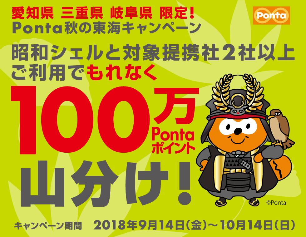 愛知県・三重県・岐阜県限定!キャンペーン期間中に昭和シェルと対象提携社を2社以上ご利用で、もれなく100万Pontaポイントを山分け!
