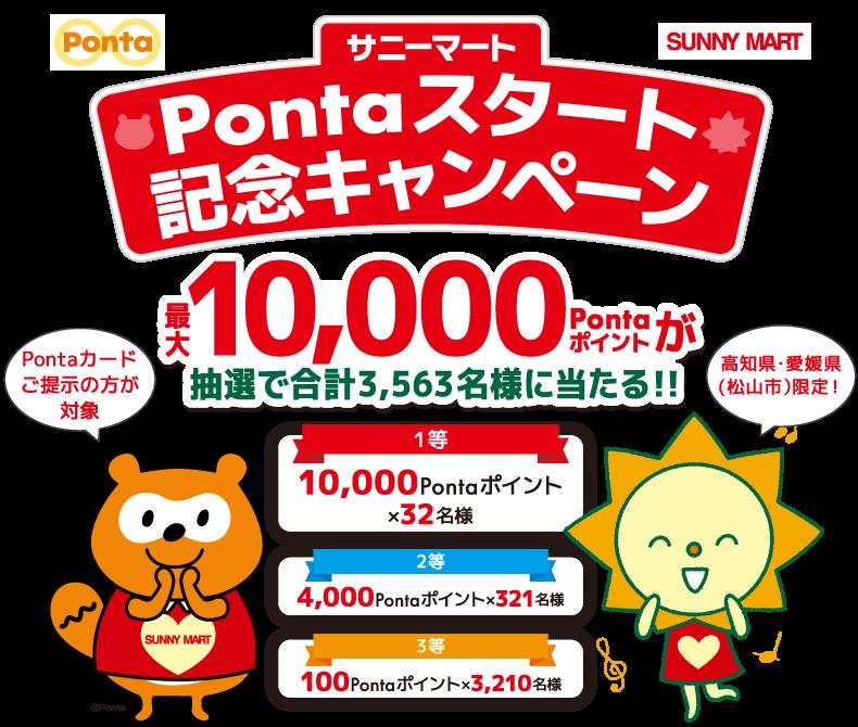 最大10,000pontaポイントが抽選で3,563名に当たる