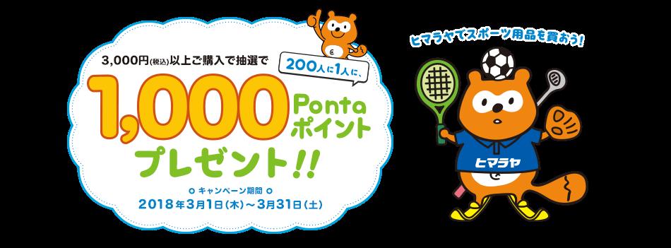 ヒマラヤでスポーツ用品を買おう!3000円(税込)以上ご購入で抽選で200人に1人1,000Pontaポイントプレゼント!