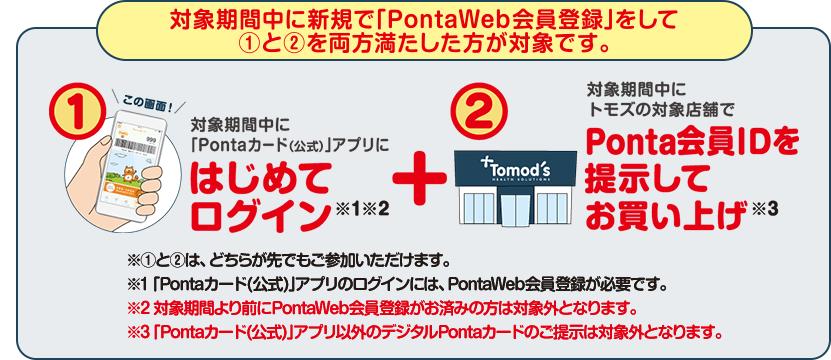 対象期間中に新規でPontaWeb会員登録をして、1と2を両方満たした方が対象です。1、対象期間中に[Pontaカード(公式)」にはじめてログイン。2、対象期間中にトモズの対象店舗でPonta会員IDを提示してお買い上げ。※①と②は、どちらが先でもご参加いただけます。※「Pontaカード(公式)」アプリのログインには、PontaWeb会員登録が必要です。※対象期間より前にPontaWeb会員登録がお済みの方は対象外となります。※「Pontaカード(公式)」アプリ以外のデジタルPontaカードのご提示は対象外となります。