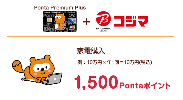 Ponta Premium Plus+コジマ:家電購入(例:10万円×年1回=10万円(税込))1,500Pontaポイント