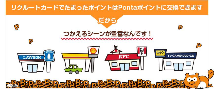 リクルートカードでたまったポイントはPontaポイントに交換できます、だからつかえるシーンが豊富なんです!