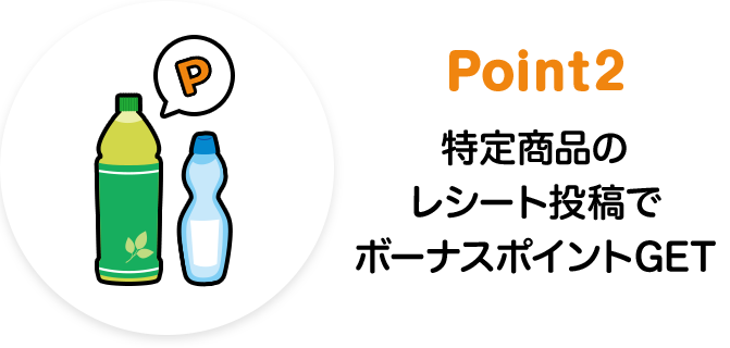 Point2 特定商品のレシート投稿でボーナスポイントGET