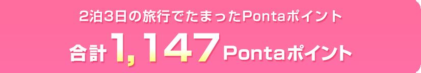 2泊3日の旅行でたまったPontaポイント 合計1,307ontaポイント