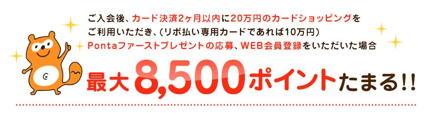 ご入会後、カード決済2ヶ月以内に20万円のカードショッピングをご利用いただき、(リボ払い専用カードであれば10万円)Pontaファーストプレゼントの応募、WEB会員登録をいただいた場合最大8,500ポイント貯まる!!